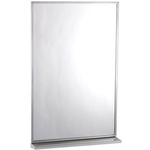 Espejo y repisa con marco de acero