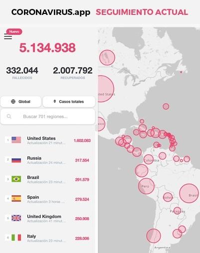 App coronavirus mapa